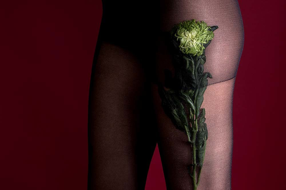 Red and Flowers   - Hosiery and  Fashion Story